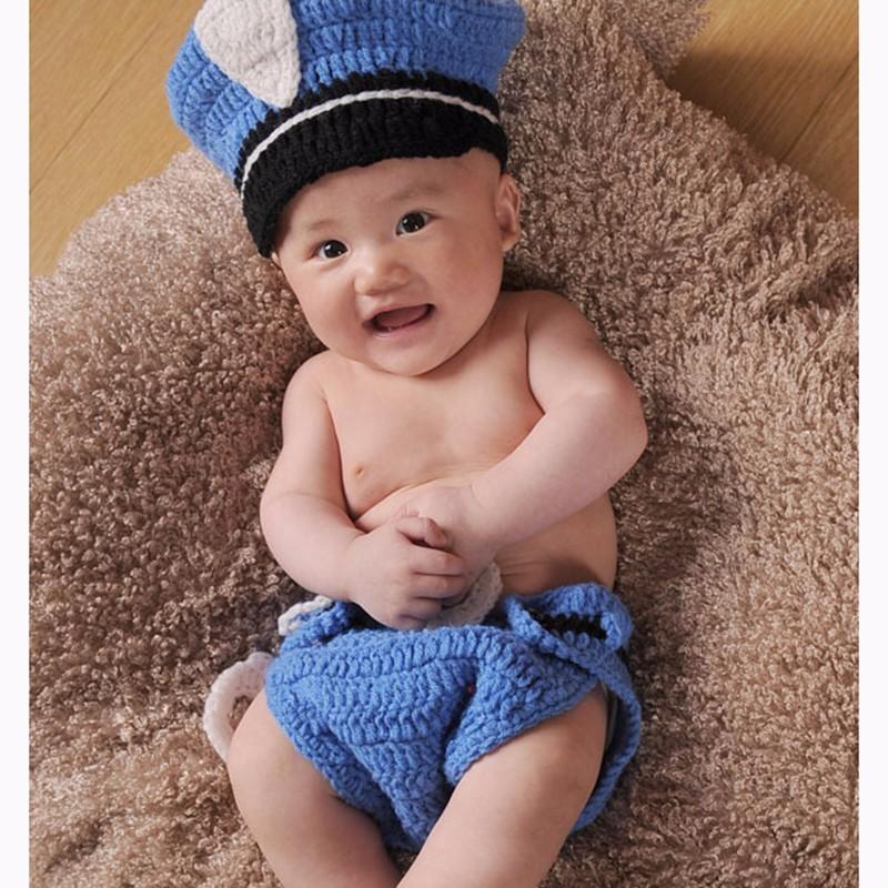 73cdc97f636 Handmade Hat Sets Newborn Photography Props Police Clothes Cap Pants Suit  Unisex Apparel Knit Baby Bonnet
