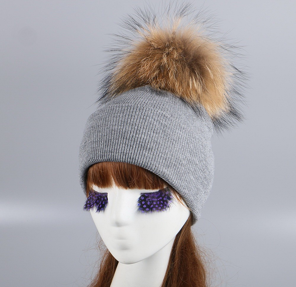 women brand fur pompom winter hat cap mix colorful knitted casual large size ball beanies girl woman beauty animal fox skullies