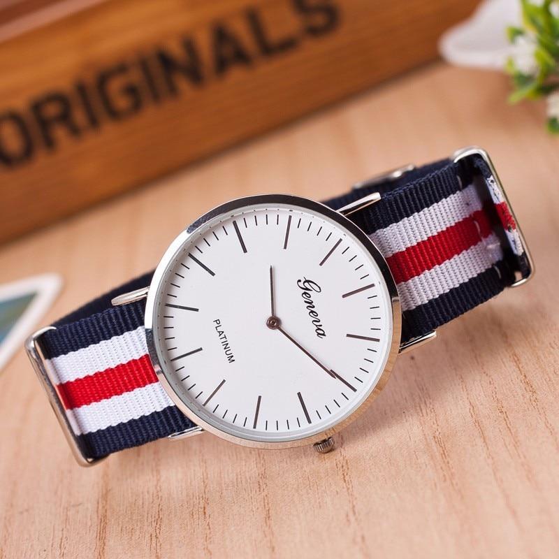 2018 Geneva Watch  New famous brand classic Nylon strap Watches men women casual Quartz watch Fashion Ladies Hot sale