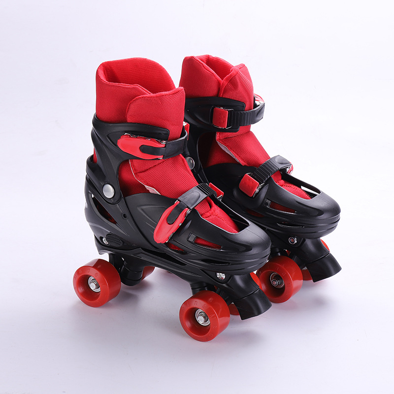 1 Pair Kids Children Teenagers Double Line Quad Parallel Roller Skates Shoes 4 Wheels Shockproof With Brake Stable Patines
