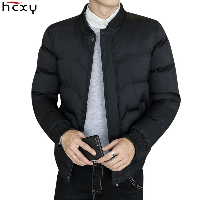 HCXY 2019 Men's Parkas Male Cotton Padded Winter Jackets Coats Men Thick Warm Jacket Solid Color Korean Short Version Rib Sleeve