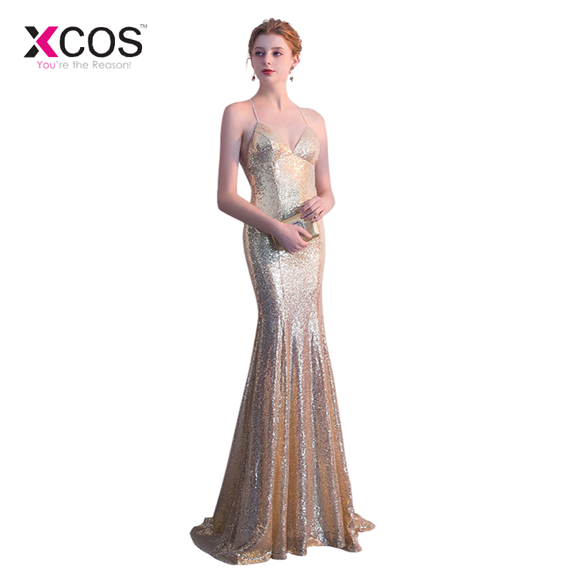 Aggressive Xcos Gold Sequin Mermaid Bridesmaid Dresses Long 2019 Sexy Spaghetti Criss Cross Back Cheap Formal Wedding Party Gowns Beautiful And Charming
