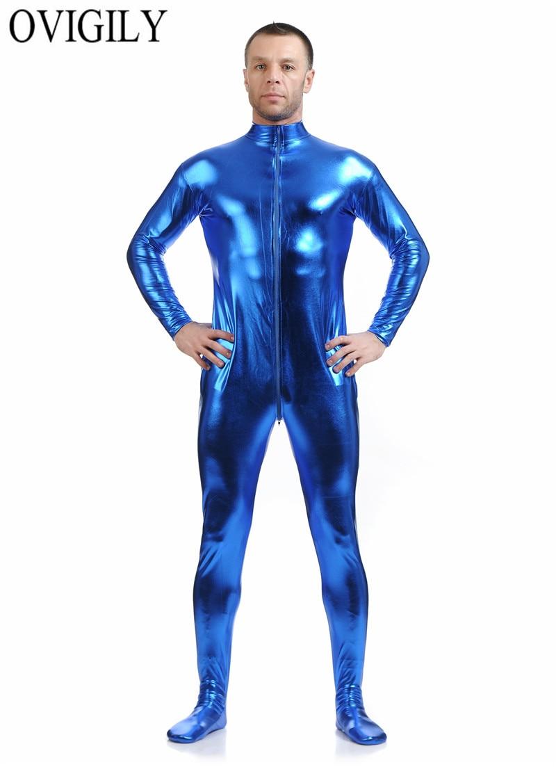OVIGILY Men Blue Zentai Suit Front Zip Shiny Metallic Full Body Zentai Catsuit Spandex Unitard Mock Neck Lycra Bodysuits No Hood