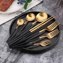Conjunto de talheres de cozinha de aço inoxidável, quente, 304, aço inoxidável, preto, ouro, babados, dorados de aço inoxidável, faca de mesa, produtos de cozinha, quantidade,