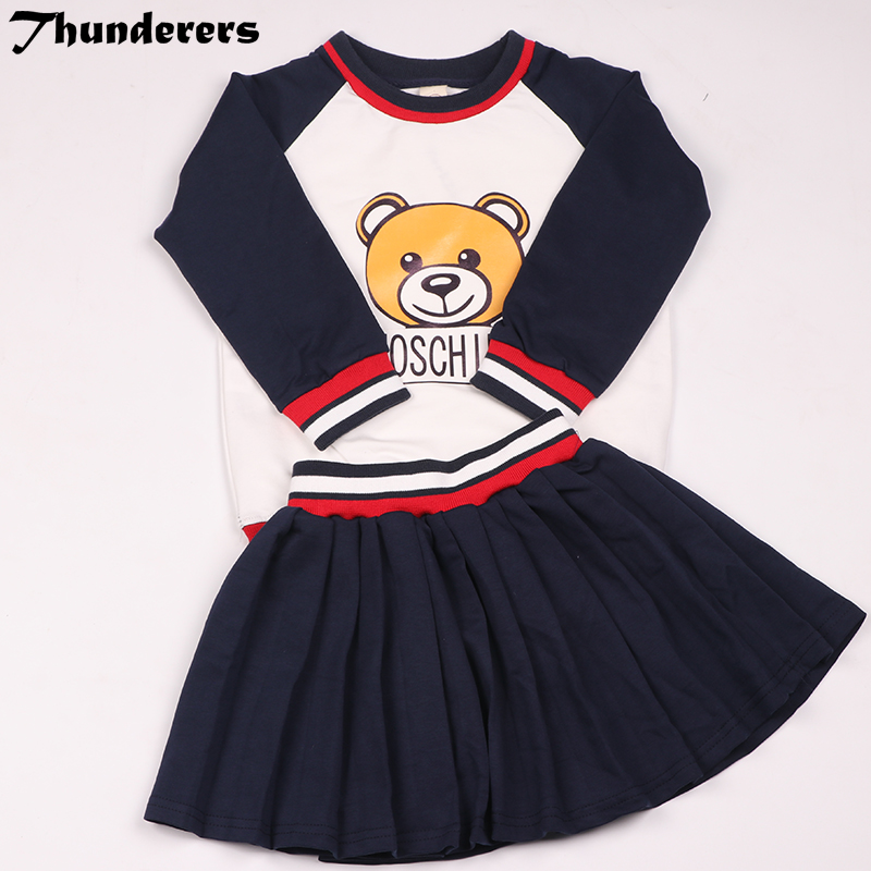 2018 Summer children clothes sets Bear Set Brother and sister Long&short style Long and short sleeves short skirt cute sets purple lace details long sleeves low waisted lingerie sets