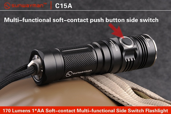 SUNWAYMAN C15A Flashlight CREE XM-L2 LED 250 Lumens 1*AA 14500 Soft-contact Multi-functional Side Switch Torch 3800 lumens cree xm l t6 5 modes led tactical flashlight torch waterproof lamp torch hunting flash light lantern for camping z93