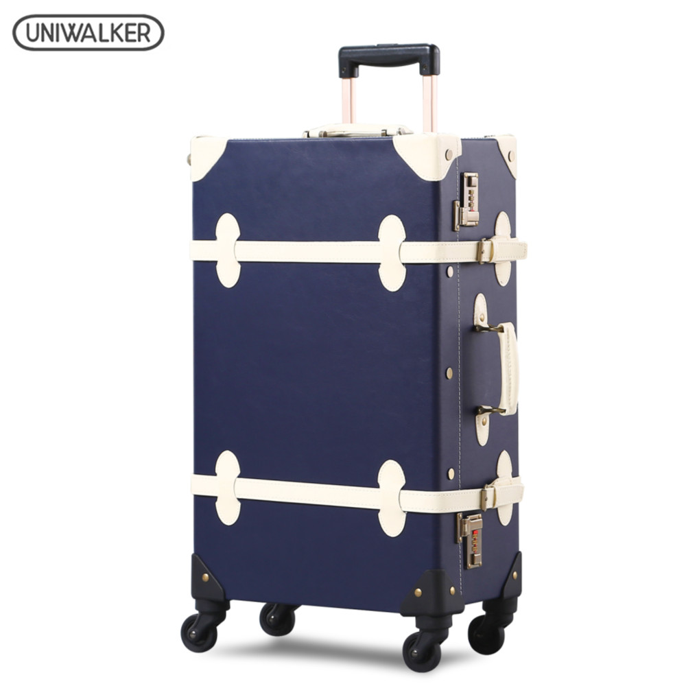 UNIWALKER High Quality 20''22''24''26'' Unisex Retro Rolling Luggage Trolley Bags for Traveling Rolling Luggage Suitcase Spinner uniwalker 2022 24 26 drawbars