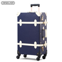 UNIWALKER High Quality 20''22''24''26'' Unisex Retro Rolling Trolley Luggage Vintage Suitcase Bags With Wheel For Traveling