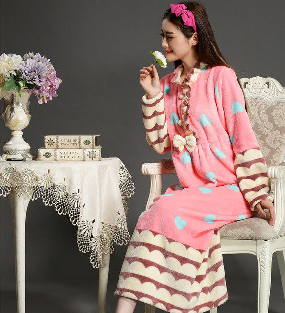 2017 moda primavera e no outono e inverno das mulheres plus size coral fleece roupão de flanela princesa comprimento da manga longa sleepwear salão