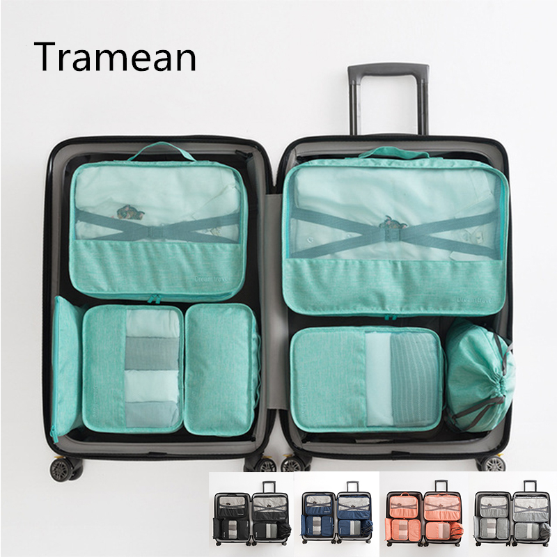 7pc Travel Luggage Bag Organizer Packing Cubes Set Breathable Mesh Waterproof Packing Duffle Bag Carry on