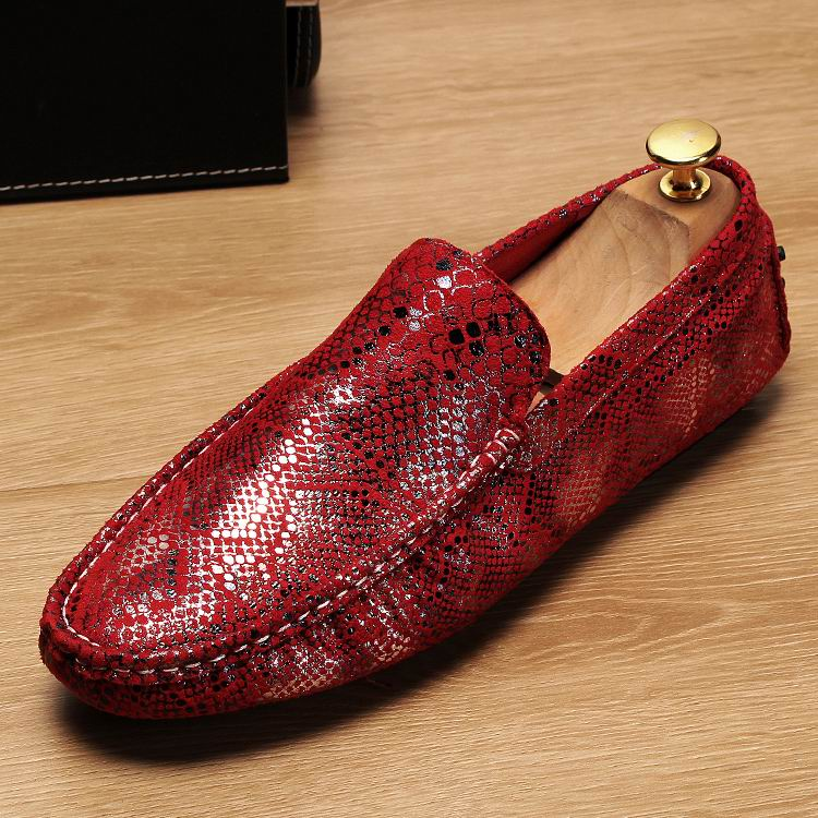 Adaptable Errfc Designer Fashion Men Red Loafer Shoes Slip On Snake Pattern Soft Casual Comfort Shoes Man Trend Mocasin Flats Black 38-43 Jade White Men's Shoes