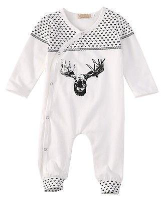 Новорожденных Девочек Мальчиков Одежда Детская Одежда Пижамы Милый Олень  100% Хл 966d2cd77b495