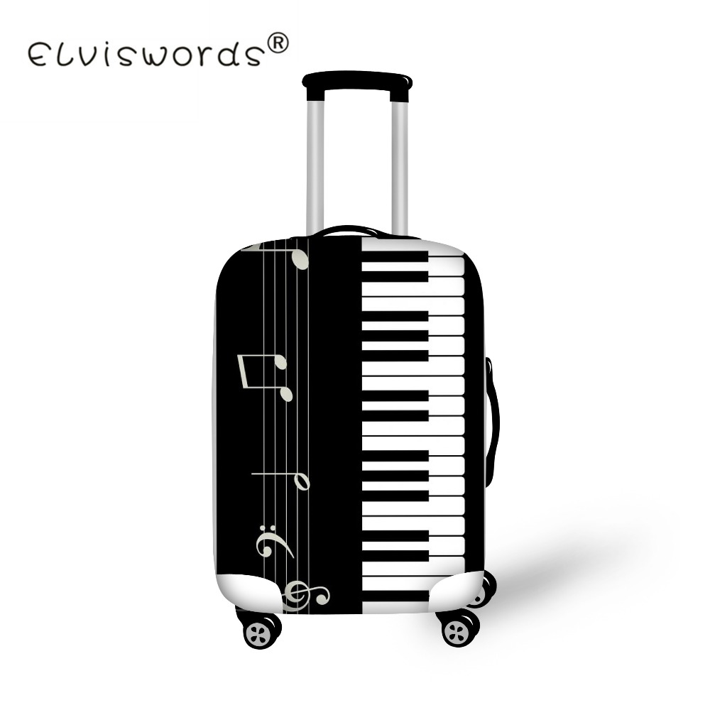 ELVISWORDS Gepäck Schutzhülle Musik Klavier Druck Reise Zubehör für 18-30 zoll Trolly Koffer Abdeckung Staubdicht Taschen