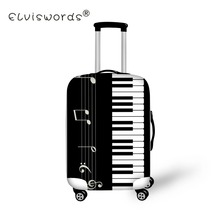 ELVISWORDS bagażu osłona ochronna muzyka Piano Print akcesoria turystyczne dla 18-30 inch Trolly walizka okładka torby pyłoszczelne tanie tanio Akcesoria podróżne 200g 72cm Z ELVISWORDS S M L 50cm Odbitki zwierzęce Poliester Pokrowiec na bagaż 20cm bagaż podróżny pokrywa bagaż znaczniki