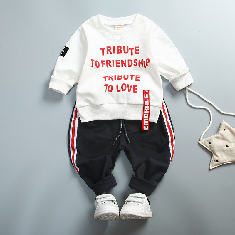 0-4 ages 100% cotton 2018 spring autumn casual active letter children clothing kid suit T-shirt+pant baby girl boy clothing set free shipping children clothing spring girl three dimensional embroidery 100% cotton suit long sleeve t shirt pants