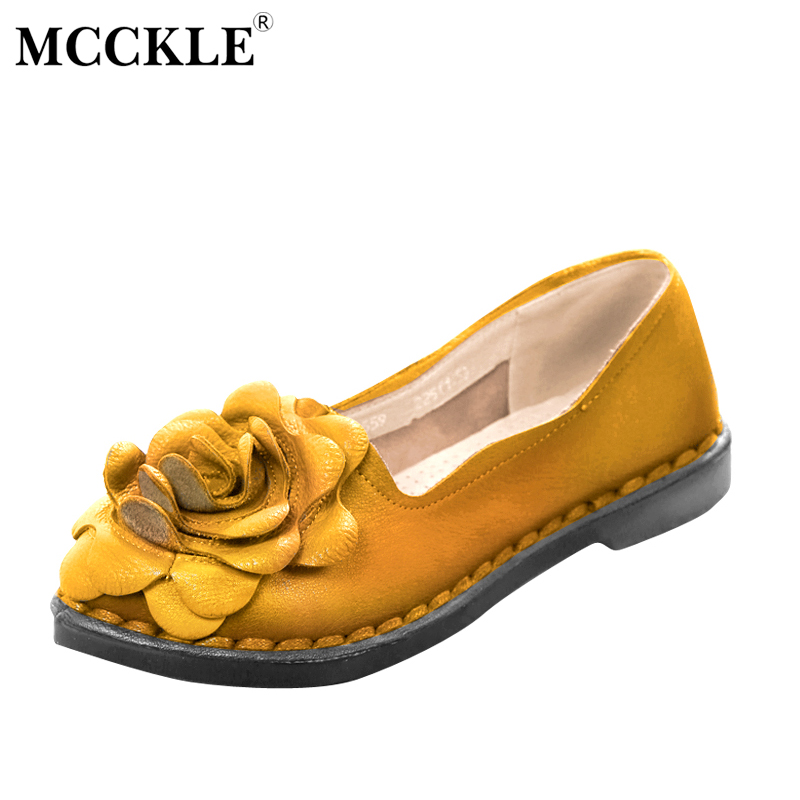 MCCKLE 2017 Fashion Women Shoes Flat Woman Round Toe Flowers Ladies Black Loafers Hot Sale Casual Comfortable Spring&Autumn mcckle 2017 fashion woman shoes flat women platform round toe lace up ladies office black casual comfortable spring
