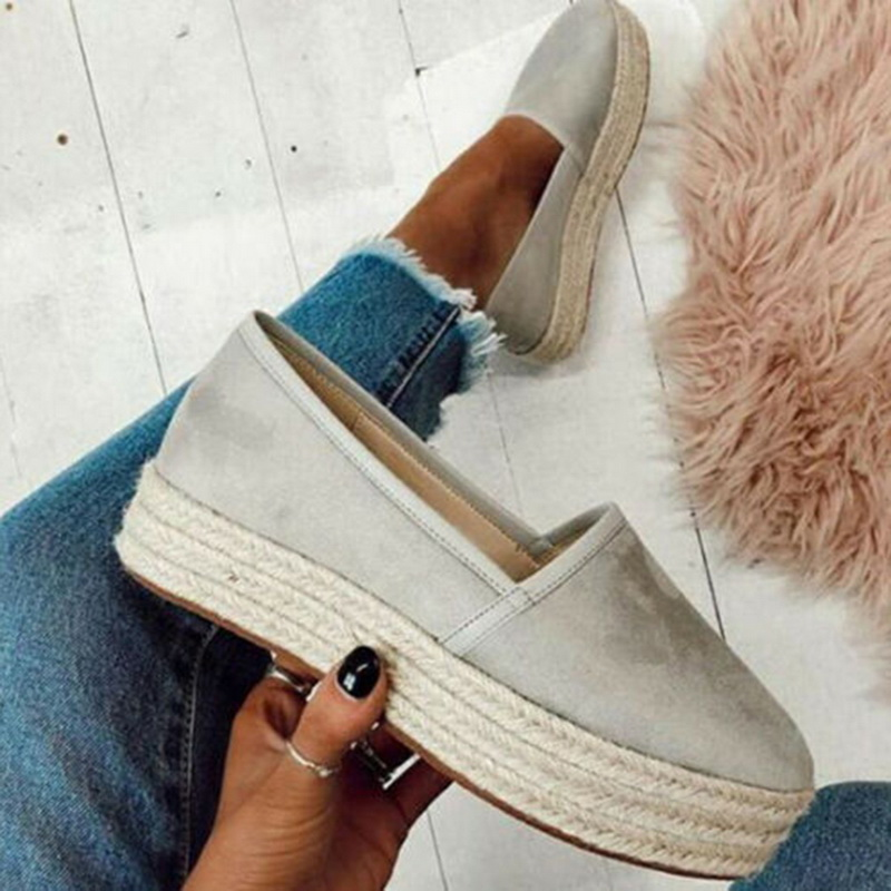 SHUJIN Women Flats Shoes Slip On Casual Ladies Canvas Shoes Thick Bottom Lazy Loafers Female Espadrilles 2019