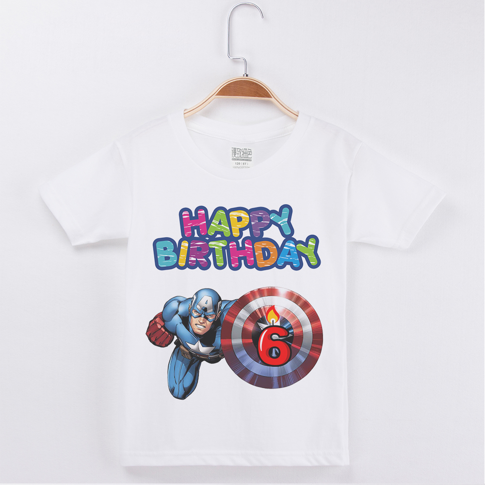 Short Sleeve Casual Tshirts Clothes Boys Happy Birthday Numeral T Shirt Captain America Printed Kid Cotton Boy Children Clothing In Shirts From Mother