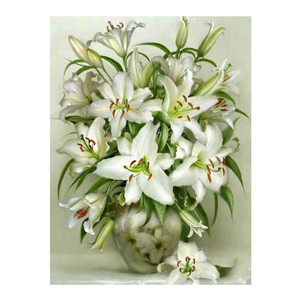White Lily floral Moge Diamond Painting Full Round vase New DIY Sticking Drill Cross Embroidery 5D simple Home Decoration