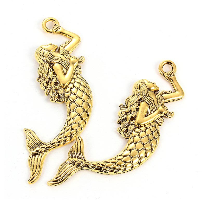 TJP 2pcs Antique Gold Tone Big Large Mermaid Charms Pendants for Necklaces Jewelry Making Findings 75x20mm in Pendants from Jewelry Accessories