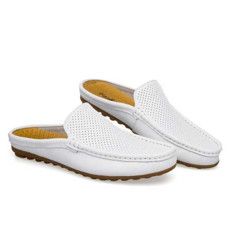 d7dc7022ec284 ... Handmade Genuine leather Men Slippers Summer Half drag Loafers Hollow  Out beach shoes Male Slides Flats ...