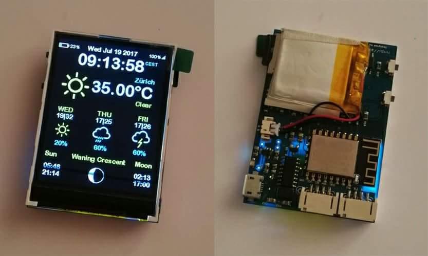 Esp8266 weather station color 240x320 display OpenWeatherMap wifi open  source github AZSMZ TFT TOUCH