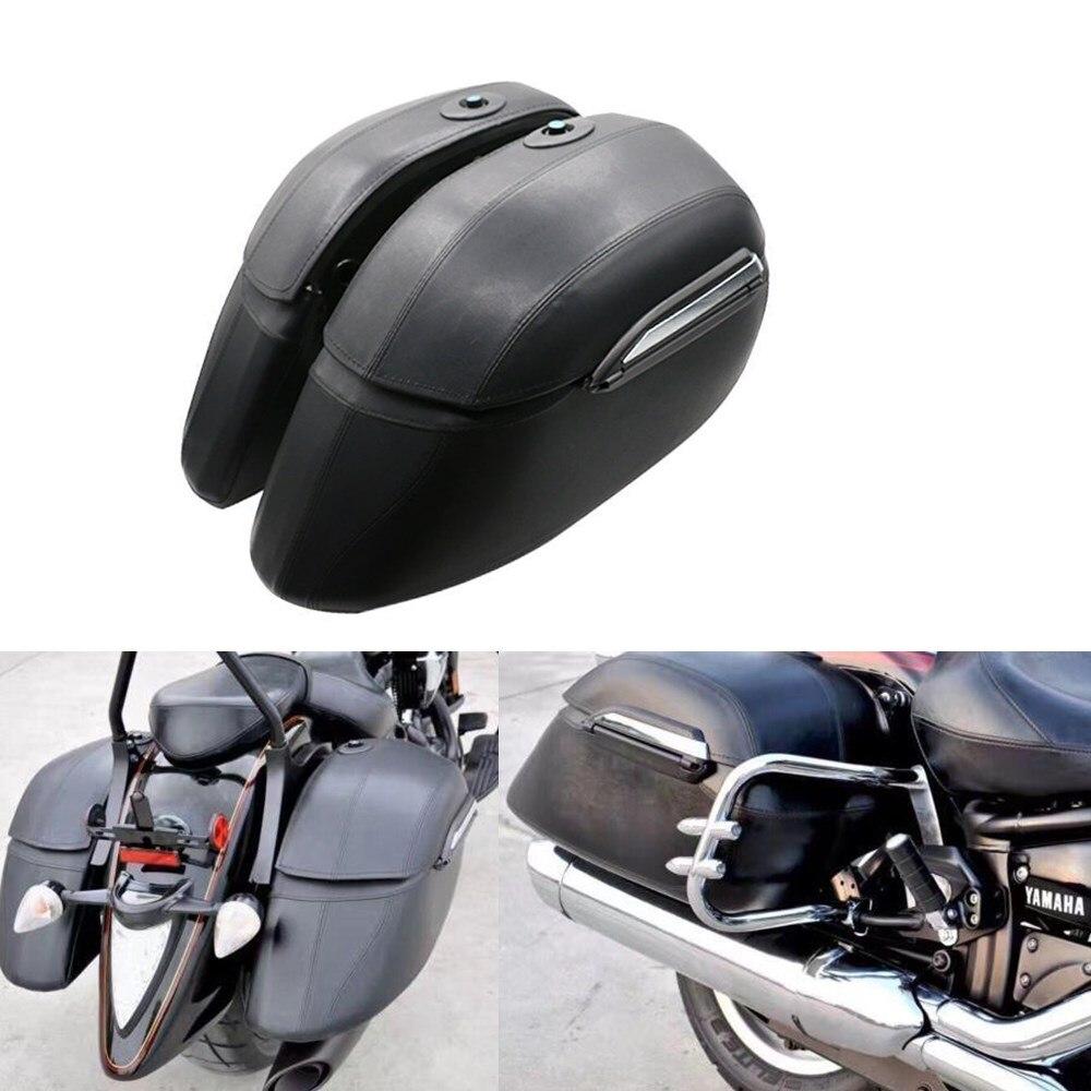 Левый и правый Мотоцикл Cruiser жесткий багажник сумки чемодан седло мешок чехол для Honda VTX Yamaha DS XVX Suzuki VL Kawasaki VN