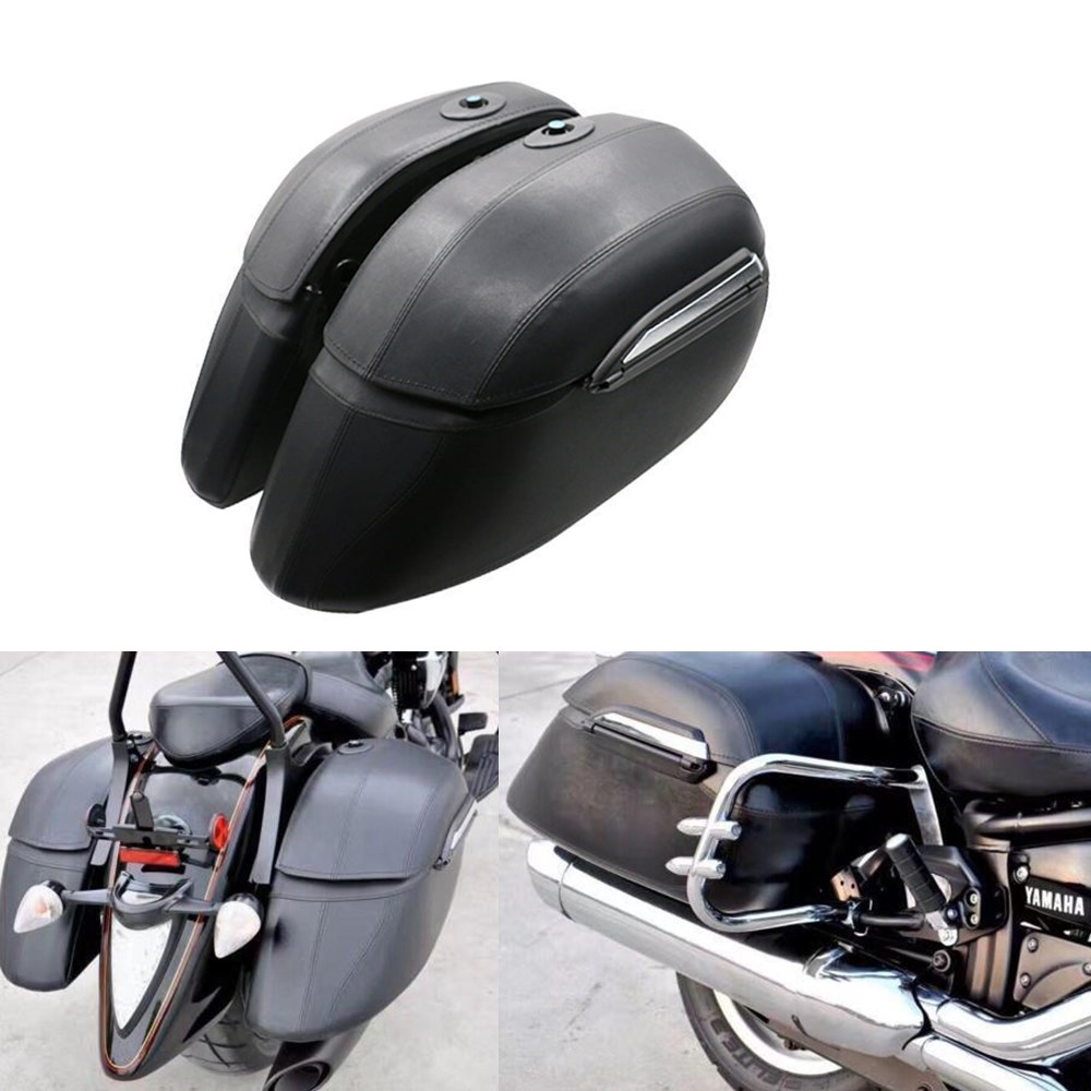 Left & Right Moto Cruiser Duro Tronco Borse Laterali Bagagli Borsa Da Sella di Caso per Honda VTX Yamaha DS XVX Suzuki VL kawasaki VN