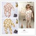 Ins 2017 bebé primavera ropa PARA NIÑOS conejo suecia niños pantalones 2 unids ropa conjuntos kikikids moda niños pijama de navidad conjuntos