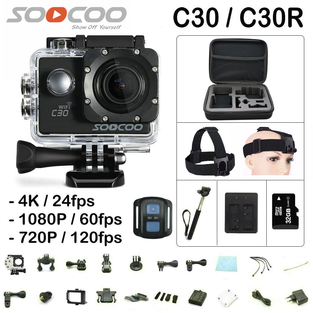 SOOCOO C30 / C30R Remote Action Camera Gyro HD 4K WiFi 2.0 LCD Sport Cam NTK96660 30M Waterproof Camera wimius 20m wifi action camera 4k sport helmet cam full hd 1080p 60fps go waterproof 30m pro gyro stabilization av out fpv camera