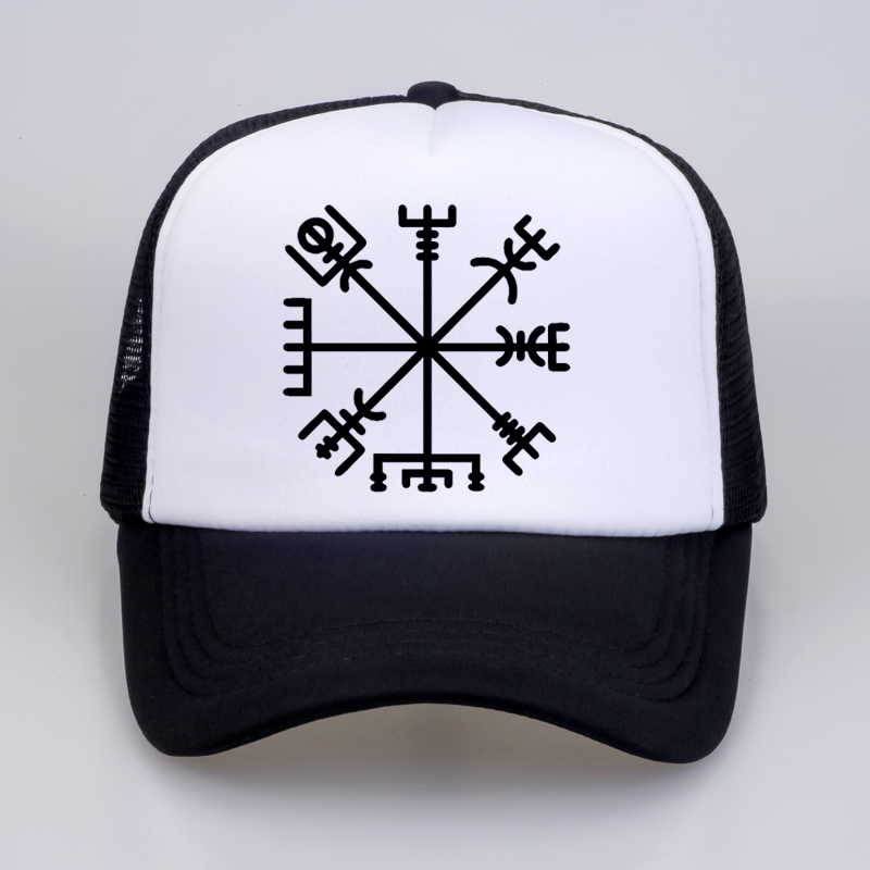 Summer Men Women Fashion VEGVISIR Old Norse Runes Hat Men Print Letters Viking Rune Circle With Odin'S Baseball Cap Hats