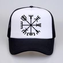 Summer Men Women Fashion VEGVISIR Old Norse Runes Hat Print Letters Viking Rune Circle With OdinS baseball cap Hats