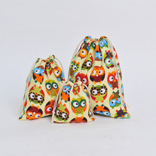 Cute cartoon Owl Drawstring Storage Bags pouch Gift Candy Te