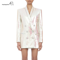 White Glitter Top Woman Coat Fashion Slim V Neck Sexy OL Style Day Suit Jacket 2019 Spring Ladies New