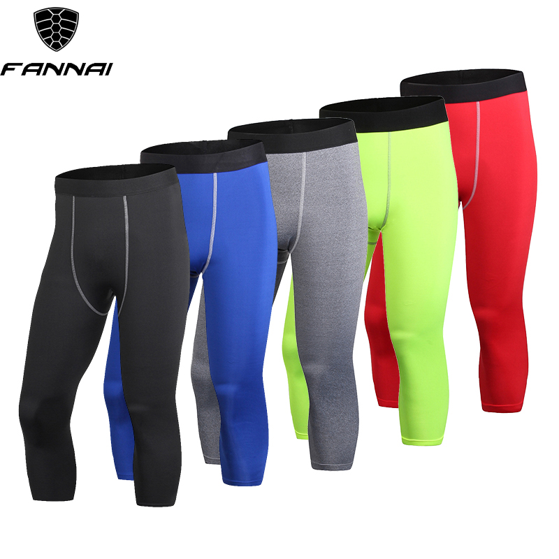 Men/'s Compression 3//4 Legging Workout Sports Gym Calf Bottoms Wicking Tight fit