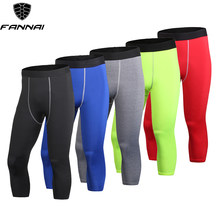 Men's Compression Gym 3/4 Capri Shorts Baselayer Cool Dry Sports Tights Leggings Fitness Pants Sportswear Quick Dry Running Pant(China)
