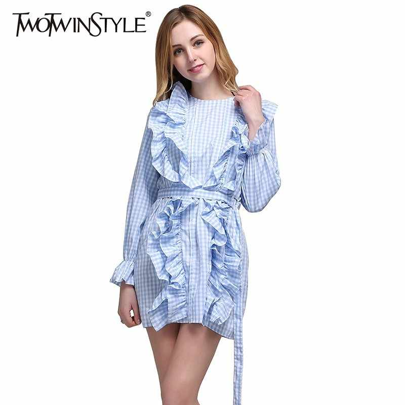 TWOTWINSTYLE Plaid Dress For Women Ruffles Lace Up Cintura Alta Alargamento Da Luva Mini Vestidos Feminino 2019 Primavera Doce Moda Roupas