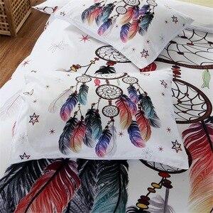 Image 2 - לבן לוכד חלומות מצעים סט שמיכה מלך בוהמי הדפסת מצעי מלך צבעוני נוצות שמיכה כיסוי
