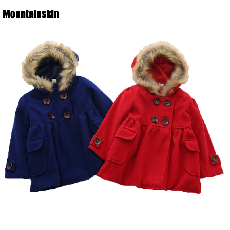 Fashion Girls Winter Jackets Princess Hooded Coats Double Breasted 2 8Y Children Clothing Woolen Trench Kids
