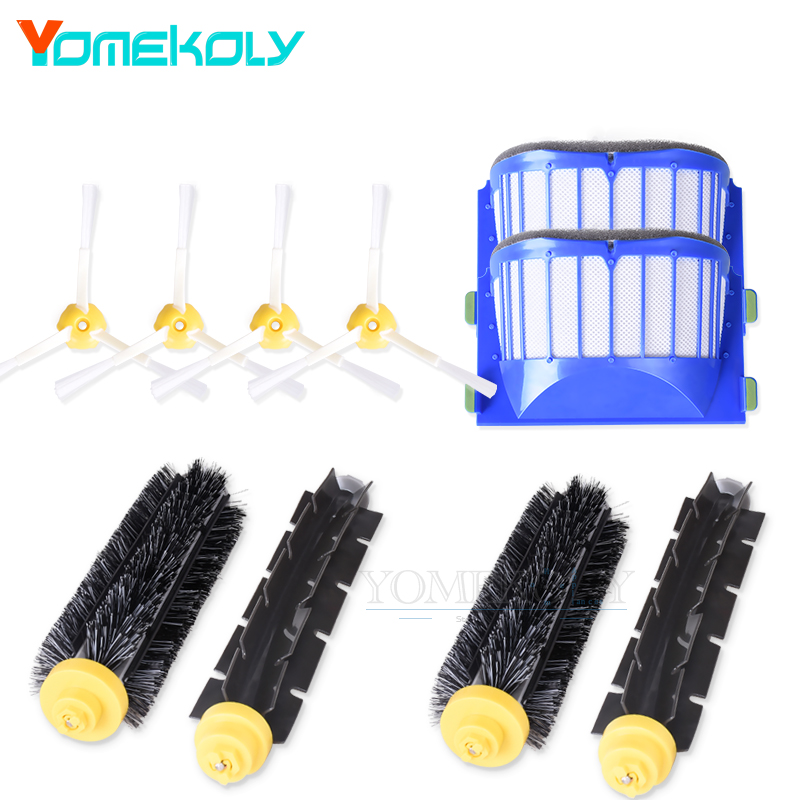 2 Blue AeroVac Filter 2 Bristle Beater Brush Kits 4 side brush for iRobot Roomba 600 Series Vacuum Cleaner Replacement Parts bristle brush flexible beater brush fit for irobot roomba 500 600 700 series 550 650 660 760 770 780 790 vacuum cleaner parts