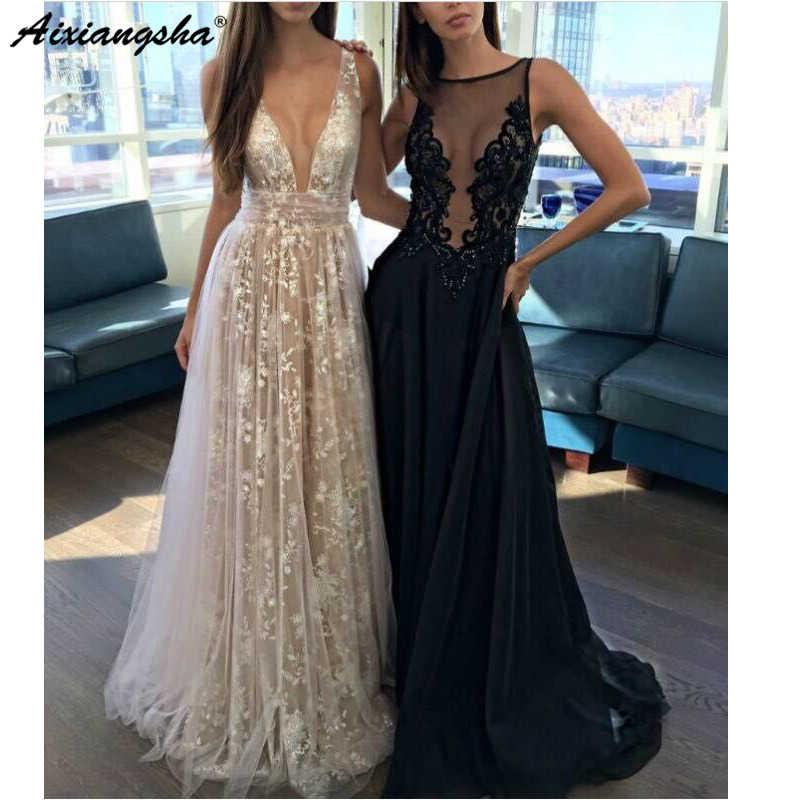 לבן שחור 2019 ארוך ערב שמלות V-צוואר אונליין תחרה ללא שרוולים באורך רצפת תחרה ערב שמלת חלוק דה soiree