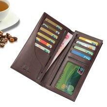 Echtes Leder Männer Brieftasche Weiche Große Scheine Tasche mehr Kartensteckplätze Langen Geschäftsbrieftasche Reißverschluss Schlanke brieftaschen A208