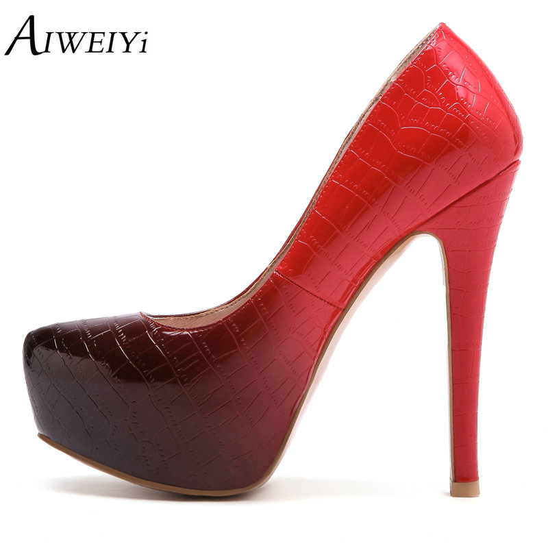 AIWEIYi Women High Heels Round Toe Slip On Sexy Pumps 13cm Color Ladies High Heel Wedding Bride Shoes Concise Style Stilettos sequined high heel stilettos wedding bridal pumps shoes womens pointed toe 12cm high heel slip on sequins wedding shoes pumps