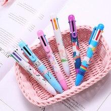 Arsmundi Cute Kawaii Multicolor Ballpoint Pen Unicorns 6 In 1 Colorful Stationery Creative School Office Supplies For Children