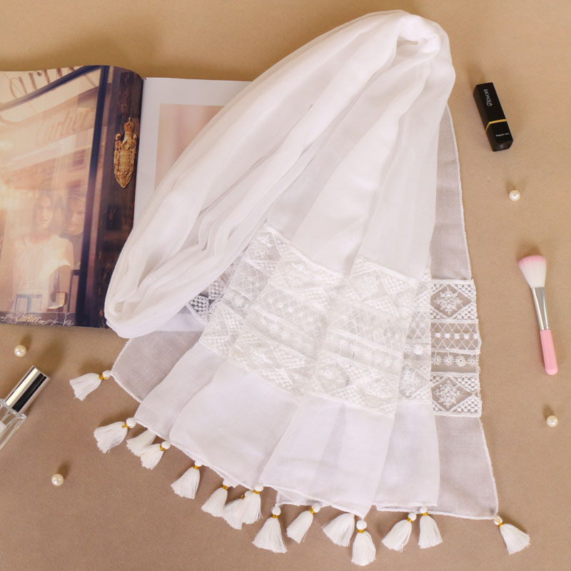High quality geometric lace tassels scarf plain cotton headband shawls hijab spring muslim 9 color scarves