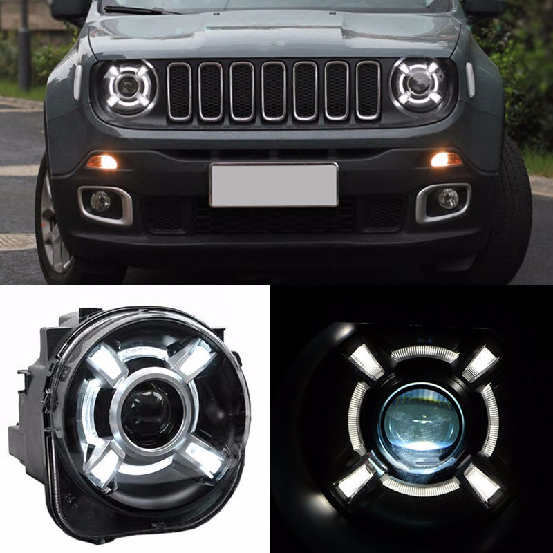 For 2015-2017 Jeep Renegade HID Headlamp with DRL and Bi-xenon Projector For Jeep Renegade BU HID H4 Head Lamp Headlights union car styling for renegade headlights for renegade hid head lamp angel eye led drl front light for jeep renegade hid lamp