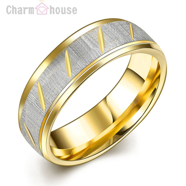 Titanium Steel Gold Color Lovers Rings Set 316L Costume Jewelry
