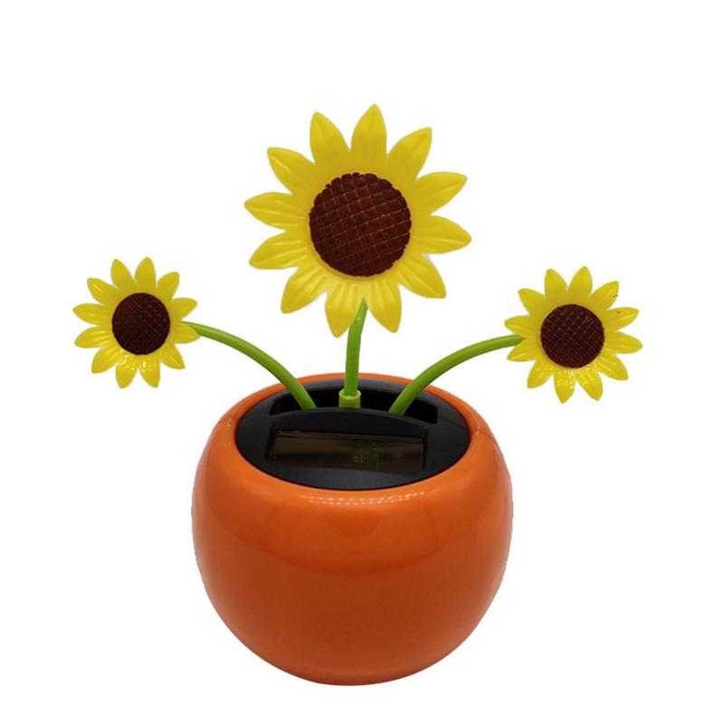 Car Accessories Car Electronics & Accessories BEESCLOVER Car Solar Ornaments Car Decoration Power Auto Simulation Flower Flowerpot Car Interior Toy Black