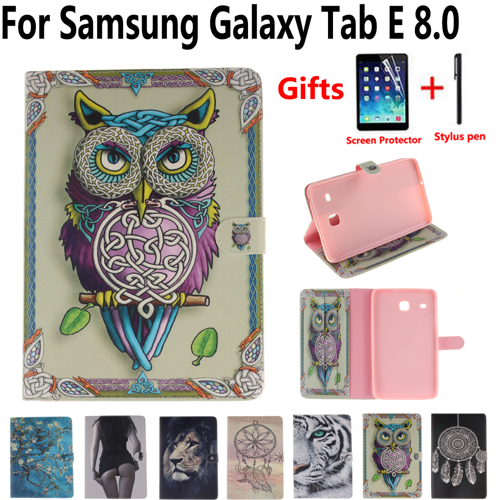 Tablet Protective Shell Cover Case for Samsung Galaxy Tab E 8.0 T375 T377 T378 Owl Flower Pu Leather Soft Tpu Smart Stand Case