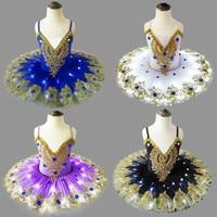Luminous Kids Ballet Dance Dress for Stage LED Light Professional Swan Lake Performance Tutu Girl Jumpsuit Pancake Dancewear 90